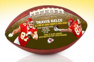 KelceAutographedArtFootball
