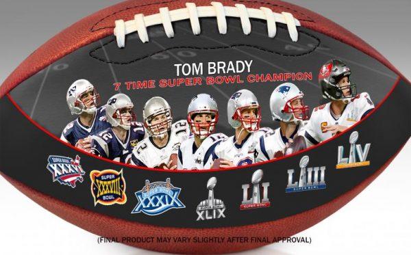 TomBrady7TimeSuperBowlChampionArtFootball CloseUp